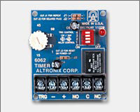 Altronix 6062 Multi-Function Timer, 12VDC or 24VDC operation. 1 sec. to 60 min. adjustable timing range. One second momentary relay activation at the end of timing cycle.-0