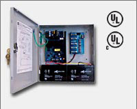 "Altronix AL300ULPD4 12VDC or 24VDC @ 2.5 amp, 115VAC input, AC and battery monitoring. Four (4) fuse protected Class 2 Rated power limited outputs, grey enclosure 13.5""H x 13""W x 3.25""D. UL Listed (UL294) CUL Listed, (UL603), (UL1069), (UL1481).-0"