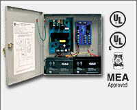 "Altronix AL400ULM 12VDC @ 4 amp or 24VDC @ 3 amp, 115VAC input, AC and battery monitoring. Fire Alarm interface . Five (5) individually PTC protected Class 2 Rated power limited outputs, grey enclosure 13.5""H x 13""W x 3.25""D. UL Listed (UL294) (UL603) (UL-0"