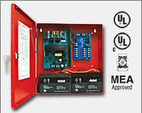 "Altronix AL400ULMR 12VDC @ 4 amp or 24VDC @ 3 amp, 115VAC input, AC and battery monitoring. Fire Alarm interface . Five (5) individually PTC protected Class 2 Rated power limited outputs, red enclosure 13.5""H x 13""W x 3.25""D. UL Listed (UL294) (UL603) (UL-0"