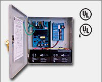 "Altronix AL400ULPD4CB 12VDC @ 4 amp or 24VDC @ 3 amp, 115VAC input, AC and battery monitoring. Four (4) PTC protected Class 2 Rated power limited outputs, grey enclosure 13.5""H x 13""W x 3.25""D. UL Listed (UL294) CUL Listed, (UL603), (UL1069), (UL1481).-0"