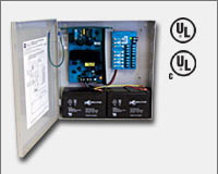 "Altronix AL400ULPD8 12VDC @ 4 amp or 24VDC @ 3 amp, 115VAC input, AC and battery monitoring. Eight (8) fuse protected Class 2 Rated power limited outputs, grey enclosure 13.5""H x 13""W x 3.25""D. UL Listed (UL294) CUL Listed, (UL603), (UL1069), (UL1481).-0"