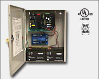 Altronix AL1024ULM 24VDC @ 10 amp, 115VAC input, AC and battery monitoring. Fire Alarm interface. Five (5) individually PTC protected Class 2 Rated power limited outputs, grey enclosure. UL Listed (UL294) (UL1481) CUL Listed, MEA-0
