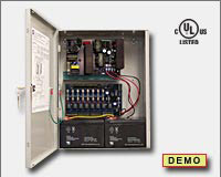 Altronix AL1024ULACM Access power controller providing a total of eight (8) fuse protected Fail-Safe and/or Fail-Secure non-power limited outputs or dry form C outputs, Fire Alarm disconnect selectable by output. Unit includes one (1) power supply/charg-0