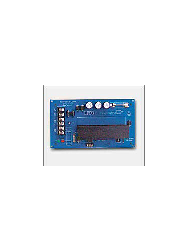 Altronix LPS3AC 12VDC or 24VDC @ 2.5 amp, over voltage protection and AC monitoring.