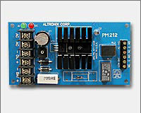 Altronix PM212 12VDC @ 1 amp, AC and battery monitoring.