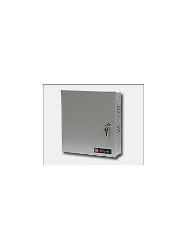 Altronix SMP10PM12P4CB 12VDC @ 10 amp, 115VAC input, AC and battery monitoring. Four (4) PTC protected outputs, grey enclosure