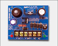 Altronix SMP312C 12VDC @ 2.5 amp, 12VDC/4AH battery and 16.5VAC/40VA plug-in transformer.