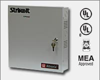 Altronix STRIKEIT1 Two (2) 24VDC independently or simultaneously controlled lock outputs for panic hardware devices with very high inrush requirements.