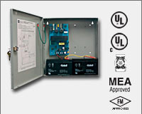 "Altronix AL400ULX 12VDC @ 4 amp or 24VDC @ 3 amp, 115VAC input, AC and battery monitoring, Class 2 Rated power limited output, grey enclosure 13.5""H x 13""W x 3.25""D. UL Listed (UL294) CUL Listed, (UL603), (UL1069), (UL1481). CSFM, MEA and FM Approved."