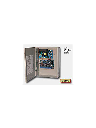 Altronix AL1012ULACM Access power controller providing a total of eight (8) fuse protected Fail-Safe and/or Fail-Secure non-power limited outputs or dry form C outputs, Fire Alarm disconnect selectable by output. Unit includes one (1) power supply/charg