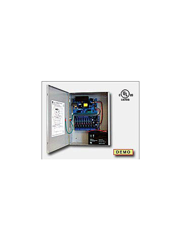 Altronix AL1012ULACMCBJ Access power controller providing a total of eight (8) PTC protected Fail-Safe and/or Fail-Secure Class 2 Rated power limited outputs, Fire Alarm disconnect selectable by output. Unit includes one (1) power supply/charger