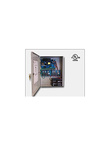 "Altronix AL1012ULXPD16 12VDC @ 10 amp, 115VAC input, AC and battery monitoring. Sixteen (16) fuse protected outputs, grey enclosure 15.5""H x 12""W x 4.5""D. UL Listed (UL294) CUL Listed."