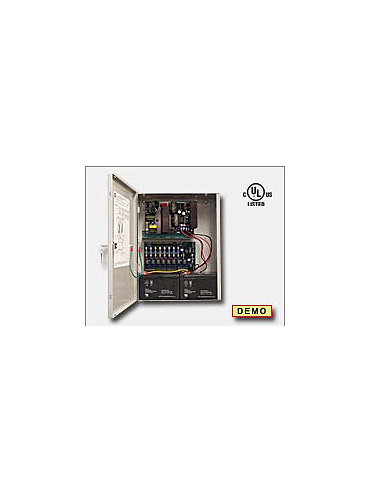 Altronix AL1024ULACM Access power controller providing a total of eight (8) fuse protected Fail-Safe and/or Fail-Secure non-power limited outputs or dry form C outputs, Fire Alarm disconnect selectable by output. Unit includes one (1) power supply/charg
