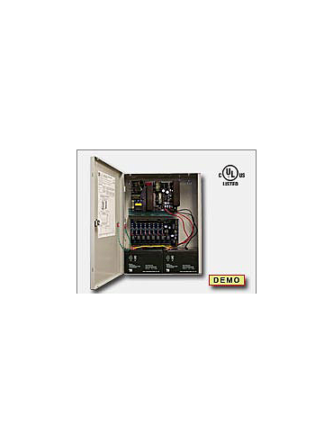 Altronix AL1024ULACMCB Access power controller providing a total of eight (8) PTC protected Fail-Safe and/or Fail-Secure Class 2 Rated power limited outputs, Fire Alarm disconnect selectable by output. Unit includes one (1) power supply/charger