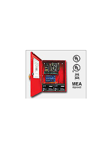 Altronix AL1024ULMR 24VDC @ 10 amp, 115VAC input, AC and battery monitoring. Fire Alarm interface. Five (5) individually PTC protected Class 2 Rated power limited outputs, red enclosure. UL Listed (UL294) (UL1481) CUL Listed, MEA