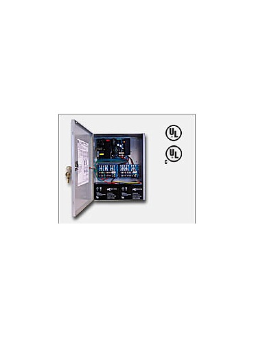 "Altronix AL1024ULXPD16 24VDC @ 10 amp, 115VAC input, AC and battery monitoring. Sixteen (16) fuse protected outputs, grey enclosure 15.5""H x 12""W x 4.5""D. UL Listed (UL294) CUL Listed, (UL1481)."