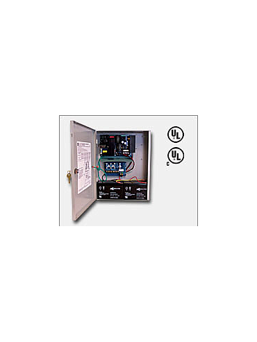 "Altronix AL1024ULXPD4 24VDC @ 10 amp, 115VAC input, AC and battery monitoring. Four (4) fuse protected outputs, grey enclosure 15.5""H x 12""W x 4.5""D. UL Listed (UL294) CUL Listed, (UL1481)."