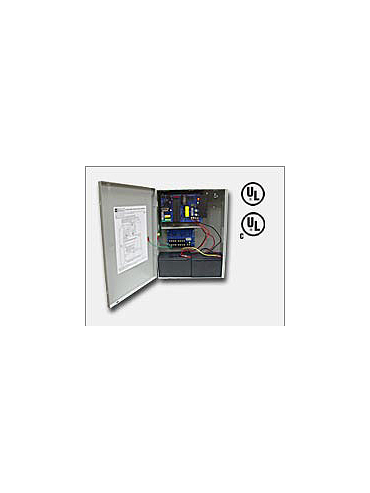 "Altronix AL1024ULXPD8CB 24VDC @ 10 amp, 115VAC input, AC and battery monitoring. Eight (8) PTC protected Class 2 Rated power limited outputs, grey enclosure 15.5""H x 12""W x 4.5""D. UL Listed (UL294) CUL Listed, (UL1481)."