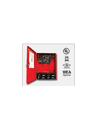 Altronix AL1024ULXR 24VDC @ 10 amp, 115VAC input, AC and battery monitoring, non-power limited output, red enclosure. UL Listed (UL294) CUL Listed, (UL1481). CSFM and MEA and FM Approved.