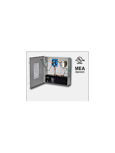 Altronix AL125ULX 12VDC or 24VDC @ 1 amp, Latching/Non Latching Fire Alarm disconnect, red enclosure and open frame transformer, UL Listed (UL294) CUL Listed.