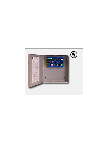 "Altronix AL201UL 12VDC @ 1.75 amp, AC and battery monitoring, Class 2 Rated power limited output, grey enclosure 8.5""H x 7.5""W x 3.5""D, UL Listed (UL294), (UL603)."