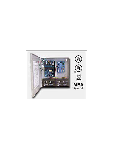 "Altronix AL300ULM 12VDC or 24VDC @ 2.5 amp, 115VAC input, AC and battery monitoring. Fire Alarm interface. Five (5) individually PTC protected Class 2 Rated power limited outputs, grey enclosure 13.5""H x 13""W x 3.25""D. UL Listed"