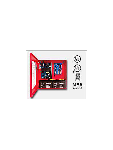 "Altronix AL300ULMR 12VDC or 24VDC @ 2.5 amp, 115VAC input, AC and battery monitoring. Fire Alarm interface. Five (5) individually PTC protected Class 2 Rated power limited outputs, red enclosure 13.5""H x 13""W x 3.25""D. UL Listed"