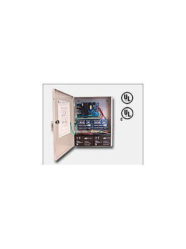 "Altronix AL300ULXPD16 12VDC or 24VDC @ 2.5 amp, 115VAC input, AC and battery monitoring. Sixteen (16) fuse protected Class 2 Rated power limited outputs, grey enclosure 15.5""H x 12""W x 4.5""D. UL Listed (UL294) CUL Listed, (UL603), (UL1069), (UL1481)."