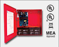 "Altronix AL300ULXR 12VDC or 24VDC @ 2.5 amp, 115VAC input, AC and battery monitoring, Class 2 Rated power limited output, red enclosure 13.5""H x 13""W x 3.25""D. UL Listed (UL294) CUL Listed, (UL603), (UL1069), (UL1481). CSFM and MEA Approved."