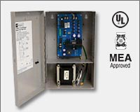"Altronix AL400UL 12VDC @ 4 amp or 24VDC @ 3 amp, 115VAC input, AC and battery monitoring, Class 2 Rated power limited output, grey enclosure 12.25""H x 7.5""W x 4.5""D. UL Listed (UL294) CUL Listed, (UL603), (UL1069), (UL1481). CSFM and MEA Approved."