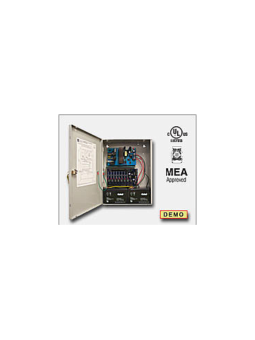 Altronix AL400ULACMCBJ Access power controller providing a total of eight (8) PTC protected Fail-Safe and/or Fail-Secure Class 2 Rated power limited outputs, Fire Alarm disconnect selectable by output. Unit includes one (1) power supply/charger