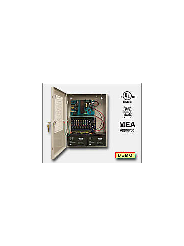 Altronix AL400ULACMJ Access power controller providing a total of eight (8) fuse protected Fail-Safe and/or Fail-Secure Class 2 Rated power limited outputs or dry form C outputs, Fire Alarm disconnect selectable by output. Unit includes one (1) power supply