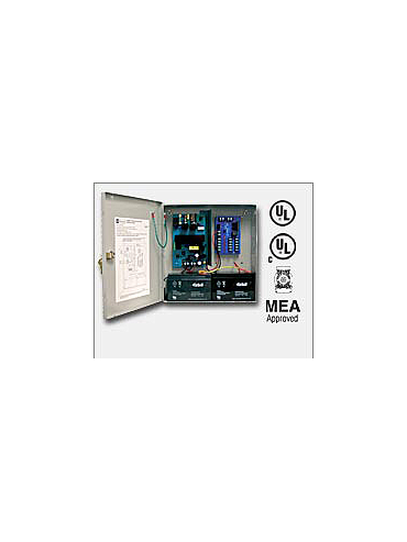 "Altronix AL400ULM 12VDC @ 4 amp or 24VDC @ 3 amp, 115VAC input, AC and battery monitoring. Fire Alarm interface . Five (5) individually PTC protected Class 2 Rated power limited outputs, grey enclosure 13.5""H x 13""W x 3.25""D. UL Listed (UL294) (UL603) (UL"