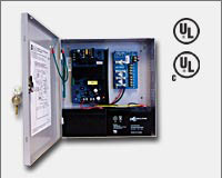 "Altronix AL400ULPD4 12VDC @ 4 amp or 24VDC @ 3 amp, 115VAC input, AC and battery monitoring. Four (4) fuse protected Class 2 Rated power limited outputs, grey enclosure 13.5""H x 13""W x 3.25""D. UL Listed (UL294) CUL Listed, (UL603), (UL1069), (UL1481)."
