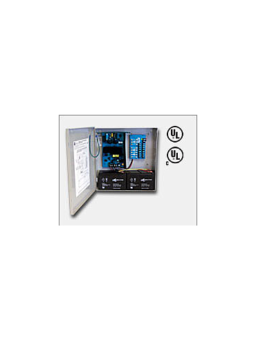 "Altronix AL400ULPD8 12VDC @ 4 amp or 24VDC @ 3 amp, 115VAC input, AC and battery monitoring. Eight (8) fuse protected Class 2 Rated power limited outputs, grey enclosure 13.5""H x 13""W x 3.25""D. UL Listed (UL294) CUL Listed, (UL603), (UL1069), (UL1481)."
