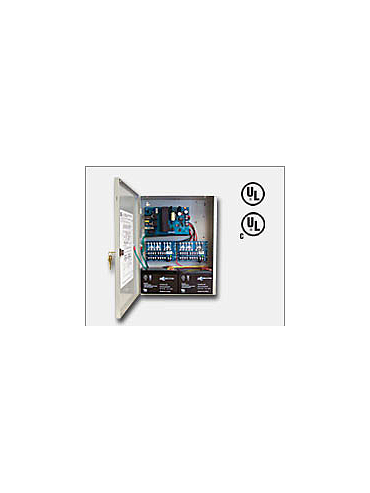 "Altronix AL400ULXPD16 12VDC @ 4 amp or 24VDC @ 3 amp, 115VAC input, AC and battery monitoring. Sixteen (16) fuse protected Class 2 Rated power limited outputs, grey enclosure 15.5""H x 12""W x 4.5""D. UL Listed (UL294) CUL Listed, (UL603), (UL1069), (UL1481)"