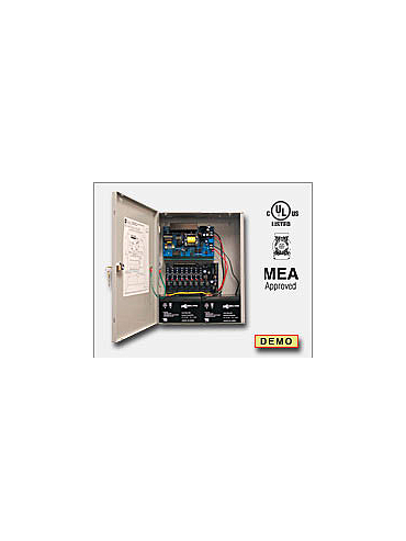 Altronix AL600ULACMCBJ Access power controller providing a total of eight (8) PTC protected Fail-Safe and/or Fail-Secure Class 2 Rated power limited outputs, Fire Alarm disconnect selectable by output. Unit includes one (1) power supply/charger