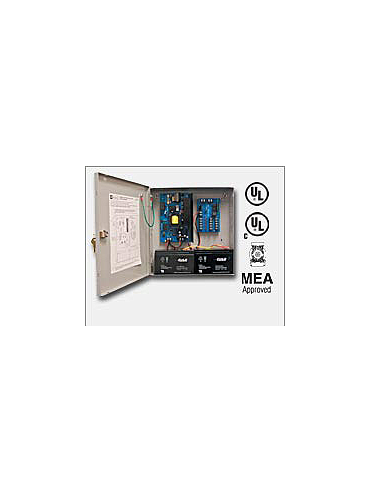 "Altronix AL600ULM 12VDC or 24VDC @ 6 amp, 115VAC input, AC and battery monitoring. Fire Alarm interface. Five (5) individually PTC protected Class 2 Rated power limited outputs, grey enclosure 13.5""H x 13""W x 3.25""D. UL Listed (UL294) (UL1481)"