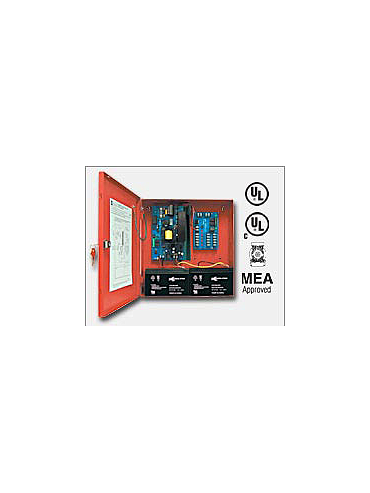 "Altronix AL600ULMR 12VDC or 24VDC @ 6 amp, 115VAC input, AC and battery monitoring. Fire Alarm interface. Five (5) individually PTC protected Class 2 Rated power limited outputs, red enclosure 13.5""H x 13""W x 3.25""D. UL Listed (UL294) (UL1481)"
