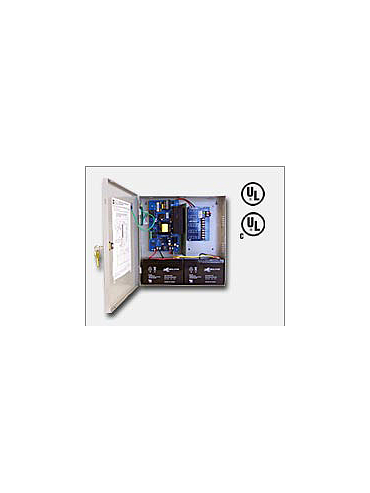 "Altronix AL600ULPD4CB 12VDC or 24VDC @ 6 amp, 115VAC input, AC and battery monitoring. Four (4) PTC protected Class 2 Rated power limited outputs, grey enclosure 13.5""H x 13""W x 3.25""D. UL Listed (UL294) CUL Listed, (UL1481)."
