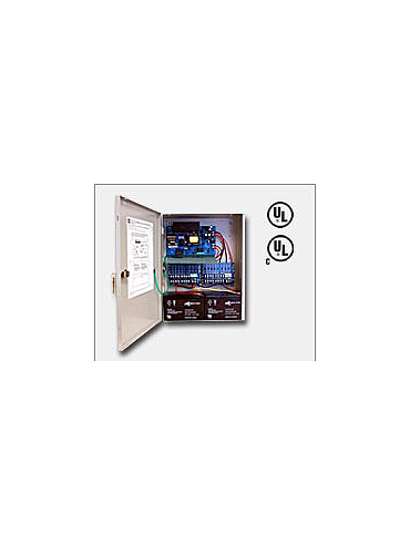 "Altronix AL600ULXPD16CB 12VDC or 24VDC @ 6 amp, 115VAC input, AC and battery monitoring. Sixteen (16) PTC protected Class 2 Rated power limited outputs, grey enclosure 15.5""H x 12""W x 4.5""D. UL Listed (UL294) CUL Listed, (UL1481)."