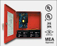 "Altronix AL600ULXR 12VDC or 24VDC @ 6 amp, 115VAC input, AC and battery monitoring, non-power limited output, red enclosure 13.5""H x 13""W x 3.25""D. UL Listed (UL294) CUL Listed, (UL1481). CSFM, MEA and FM Approved."
