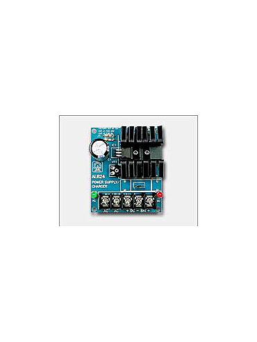 Altronix AL62424C 24VDC @ 750mA , two (2) 12VDC/4AH batteries and 24VAC/40VA plug-in transformer.